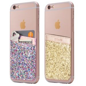 Cell Phone Stick On Wallet Card Holder - Glitter